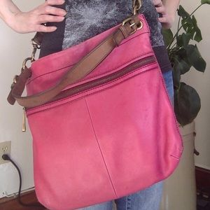 FOSSIL leather HOT PINK crossbody purse
